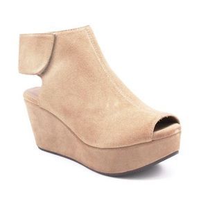 """Chocolat Blu """"White"""" wedges in taupe suede"""